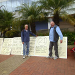 Wayne Hartman and John Flanagan at Family Law protest held at Wollongong on Friday 4 September 2015.